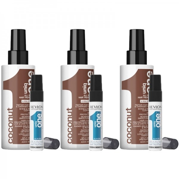 Uniq One COCONUT 3 x 150ml + 3 Reisegrößen Lotus Flower GRATIS