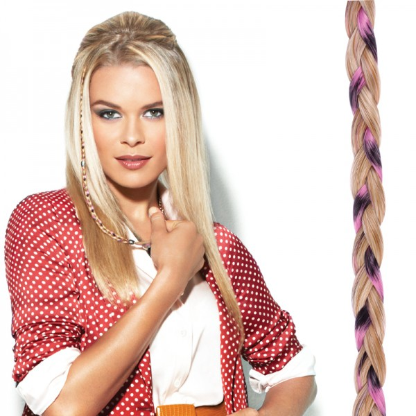POP Clip-In Beaded Braid pink/blond